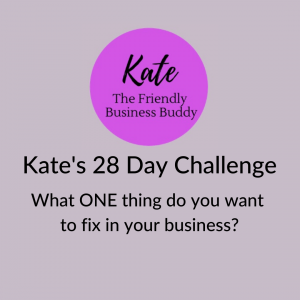 Graphic says: Kate the friendly business buddy. Kate's 28-day challenge. What one thing do you want to fix in your business?